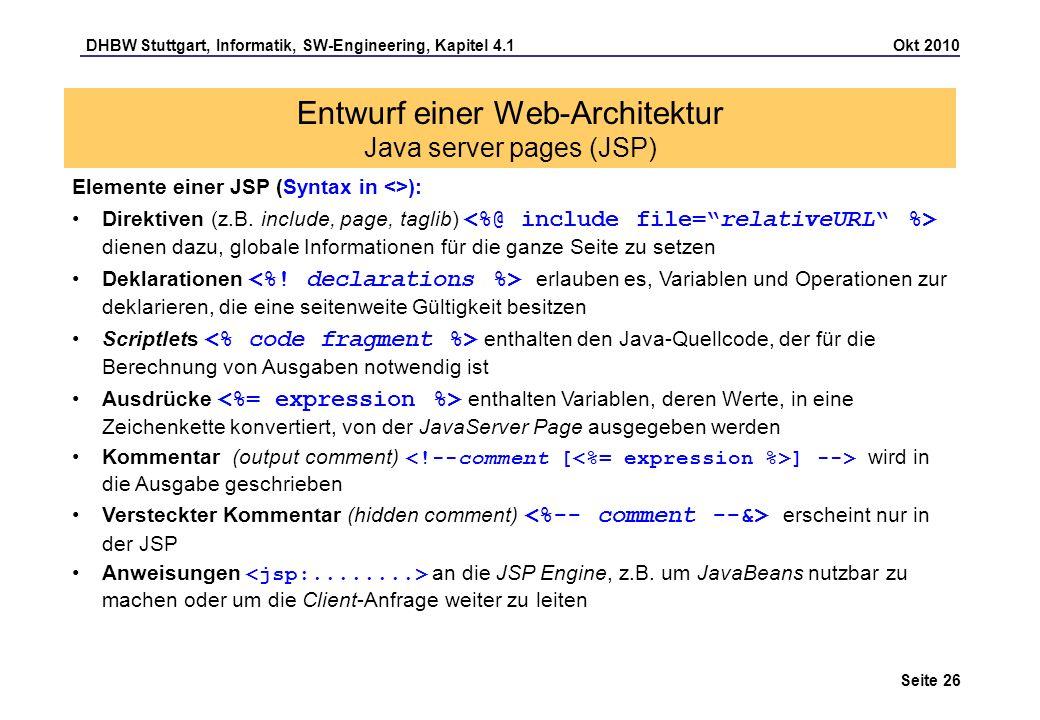 DHBW Stuttgart, Informatik, SW-Engineering, Kapitel 4.1 Okt 2010 Seite 26 Entwurf einer Web-Architektur Java server pages (JSP) Elemente einer JSP (Sy