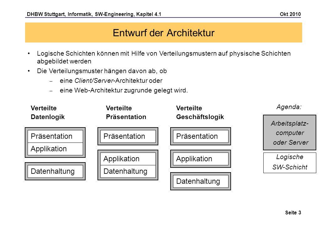 DHBW Stuttgart, Informatik, SW-Engineering, Kapitel 4.1 Okt 2010 Seite 24 Entwurf einer Web-Architektur HTTP-Charakteristika Ein Client stellt eine Anfrage (Request) an einen Server, der anschließend eine Antwort (Response) zurückschickt Vom Protokoll (zustandslos) wird nicht unterstützt, daß mehrere Anfragen zu einem Kontext gehören, da nach jeder Anfrage die Verbindung getrennt wird.