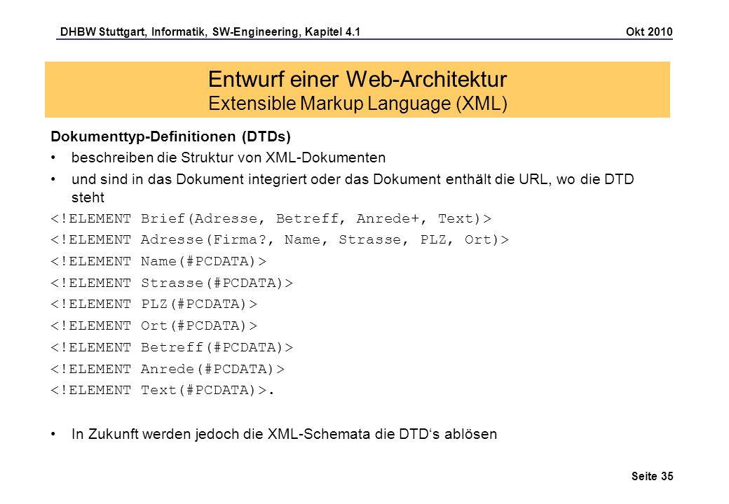 DHBW Stuttgart, Informatik, SW-Engineering, Kapitel 4.1 Okt 2010 Seite 35 Entwurf einer Web-Architektur Extensible Markup Language (XML) Dokumenttyp-D
