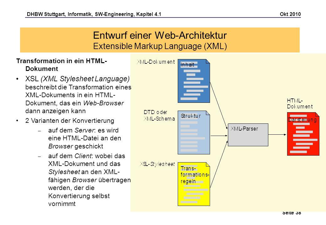 DHBW Stuttgart, Informatik, SW-Engineering, Kapitel 4.1 Okt 2010 Seite 38 Entwurf einer Web-Architektur Extensible Markup Language (XML) Transformatio