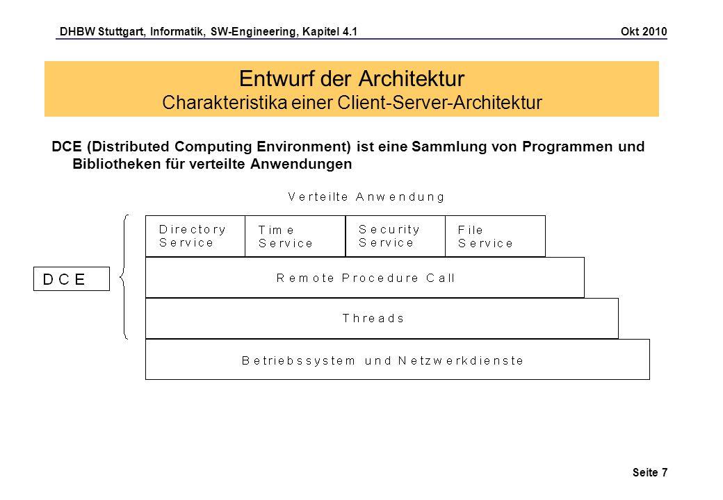 DHBW Stuttgart, Informatik, SW-Engineering, Kapitel 4.1 Okt 2010 Seite 8 Entwurf der Architektur Charakteristika einer Client-Server-Architektur DCE-Komponenten Directory Service verwaltet zu einem Namen Adressen und Zugriffslisten Time Service synchronisiert die Rechneruhren in einem Netzwerk Security Service enthält die Authentifizierung (Wer ist Client?, wer ist Server), die Autorisierung (Berechtigungsvergabe), die Geheimhaltung (Verschlüsselung der Nachrichten) und die Integritätssicherung (Schutz vor Datenmanipulation durch verschlüsselte Prüfsummen) File Service liefert ein verteiltes Dateisystem über mehrere Rechner Threads sind Teile eines Prozesses, die zueinander quasi-parallel ausgeführt werden können.