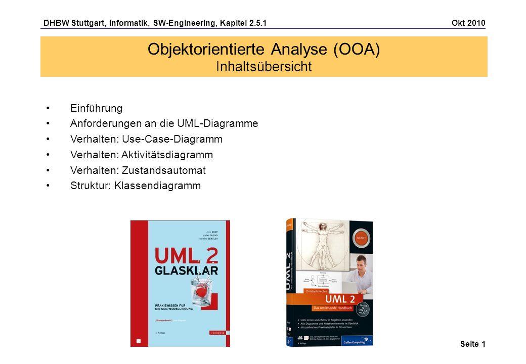 DHBW Stuttgart, Informatik, SW-Engineering, Kapitel 2.5.1 Okt 2010 Seite 2 Objektorientierte Analyse (OOA) Einführung In der Systemanalyse wird aus den fachspezifischen Anforderungen das Systemmodell erstellt; im Systemmodell ist spezifiziert, was das System leisten soll, d.h.