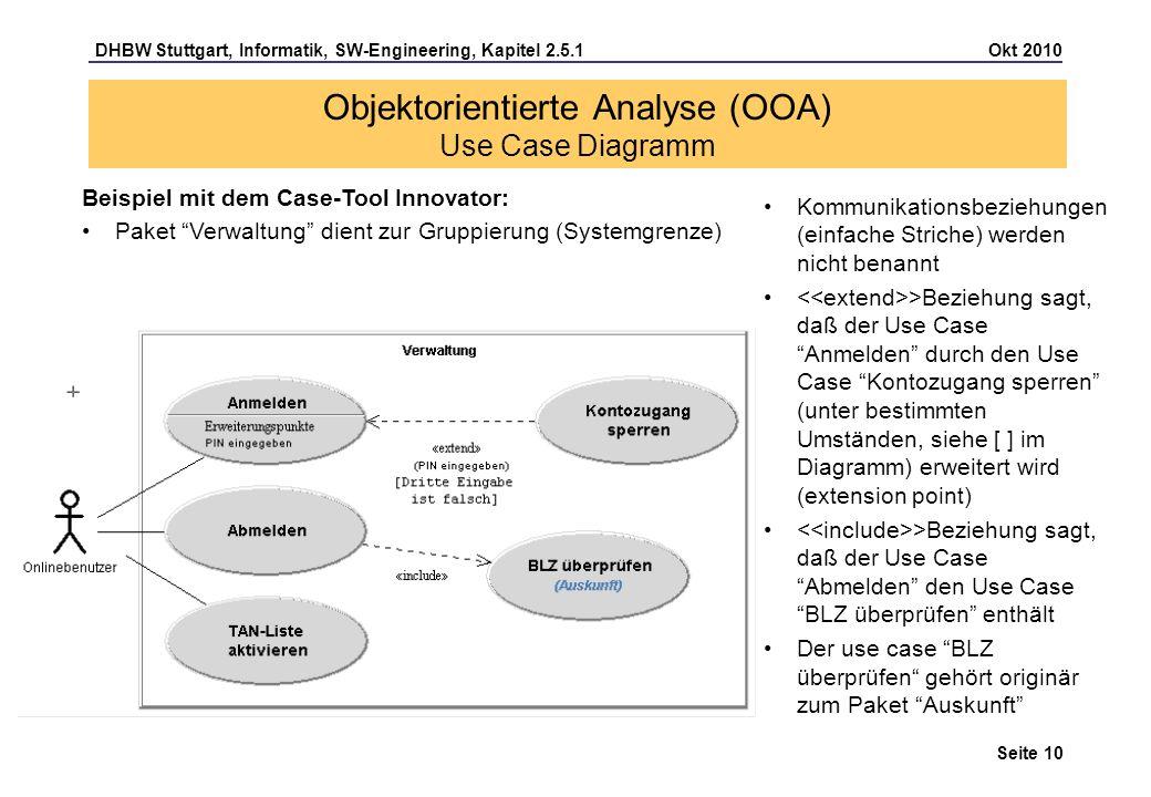 DHBW Stuttgart, Informatik, SW-Engineering, Kapitel 2.5.1 Okt 2010 Seite 10 Kommunikationsbeziehungen (einfache Striche) werden nicht benannt >Beziehu