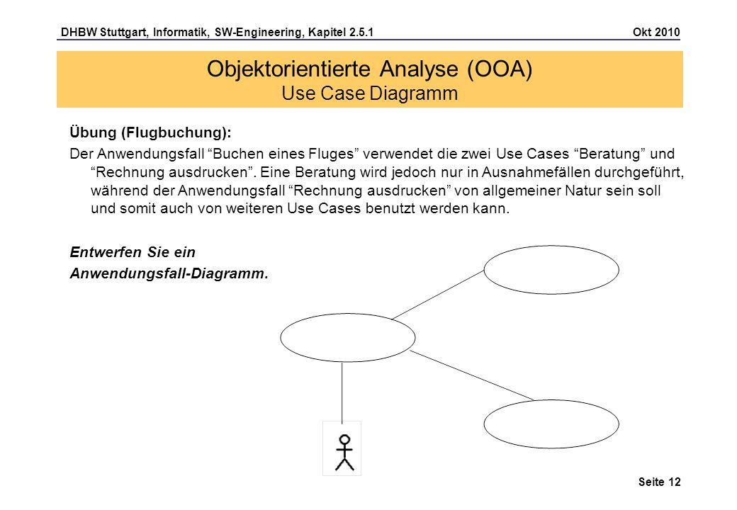 DHBW Stuttgart, Informatik, SW-Engineering, Kapitel 2.5.1 Okt 2010 Seite 12 Übung (Flugbuchung): Der Anwendungsfall Buchen eines Fluges verwendet die