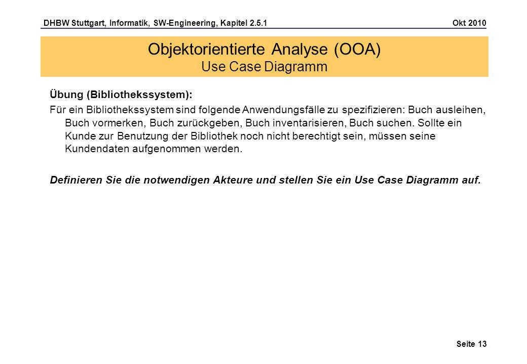 DHBW Stuttgart, Informatik, SW-Engineering, Kapitel 2.5.1 Okt 2010 Seite 13 Übung (Bibliothekssystem): Für ein Bibliothekssystem sind folgende Anwendu
