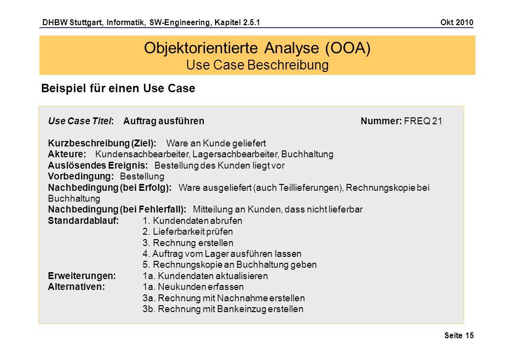 DHBW Stuttgart, Informatik, SW-Engineering, Kapitel 2.5.1 Okt 2010 Seite 15 Objektorientierte Analyse (OOA) Use Case Beschreibung Beispiel für einen U
