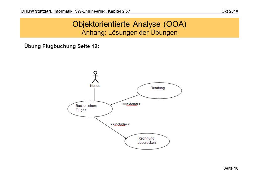 DHBW Stuttgart, Informatik, SW-Engineering, Kapitel 2.5.1 Okt 2010 Seite 18 Übung Flugbuchung Seite 12: Objektorientierte Analyse (OOA) Anhang: Lösung
