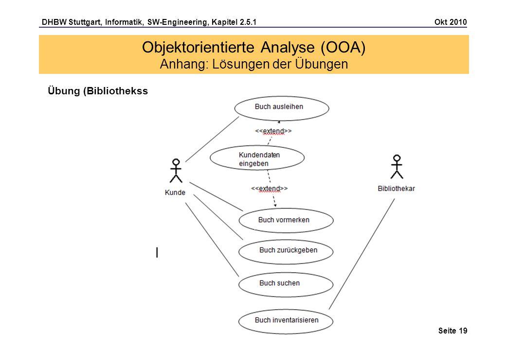 DHBW Stuttgart, Informatik, SW-Engineering, Kapitel 2.5.1 Okt 2010 Seite 19 Übung (Bibliothekssystem) Seite 13 Objektorientierte Analyse (OOA) Anhang: