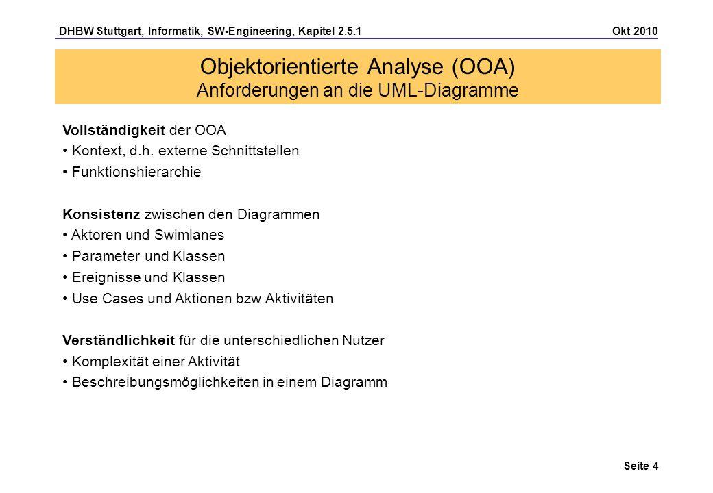 DHBW Stuttgart, Informatik, SW-Engineering, Kapitel 2.5.1 Okt 2010 Seite 4 Objektorientierte Analyse (OOA) Anforderungen an die UML-Diagramme Vollstän