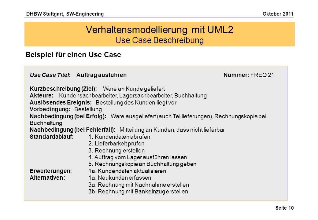 DHBW Stuttgart, SW-Engineering Oktober 2011 Seite 10 Verhaltensmodellierung mit UML2 Use Case Beschreibung Beispiel für einen Use Case Use Case Titel:
