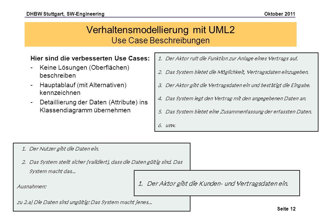 DHBW Stuttgart, SW-Engineering Oktober 2011 Seite 12 Hier sind die verbesserten Use Cases: -Keine Lösungen (Oberflächen) beschreiben -Hauptablauf (mit