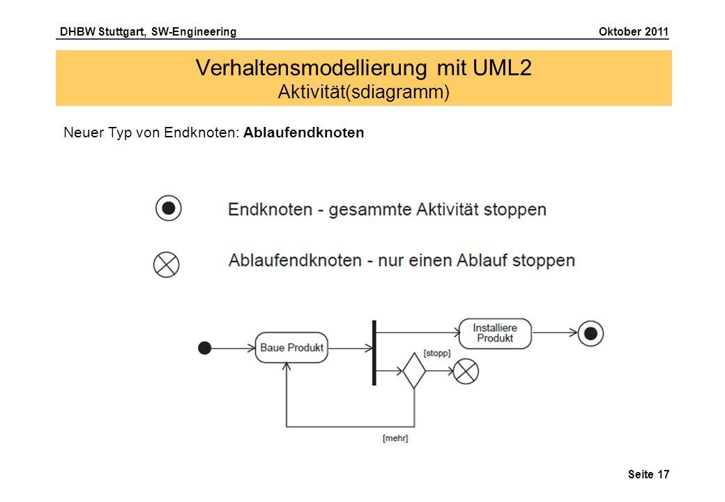 DHBW Stuttgart, SW-Engineering Oktober 2011 Seite 17 Neuer Typ von Endknoten: Ablaufendknoten Verhaltensmodellierung mit UML2 Aktivität(sdiagramm)