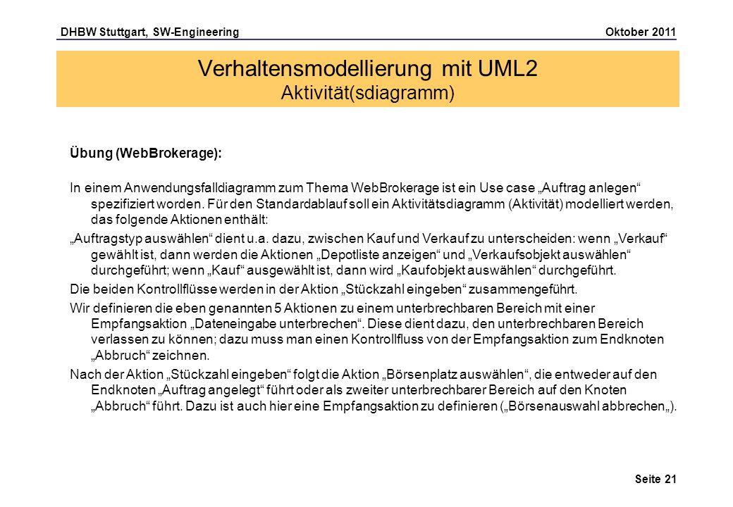 DHBW Stuttgart, SW-Engineering Oktober 2011 Seite 21 Verhaltensmodellierung mit UML2 Aktivität(sdiagramm) Übung (WebBrokerage): In einem Anwendungsfal