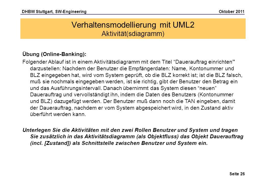 DHBW Stuttgart, SW-Engineering Oktober 2011 Seite 26 Verhaltensmodellierung mit UML2 Aktivität(sdiagramm) Übung (Online-Banking): Folgender Ablauf ist