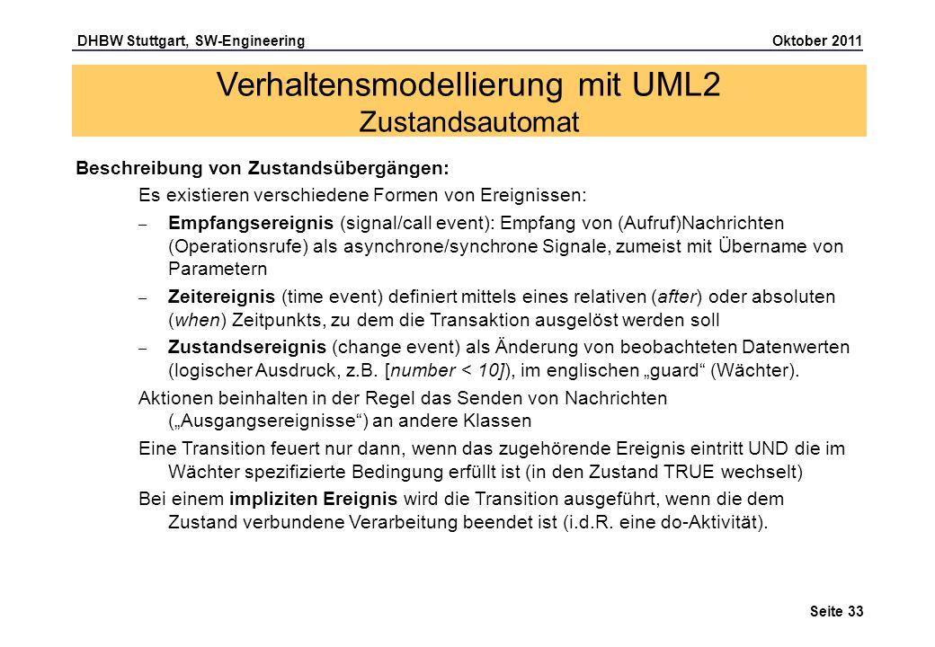 DHBW Stuttgart, SW-Engineering Oktober 2011 Seite 33 Beschreibung von Zustandsübergängen: Es existieren verschiedene Formen von Ereignissen: – Empfang