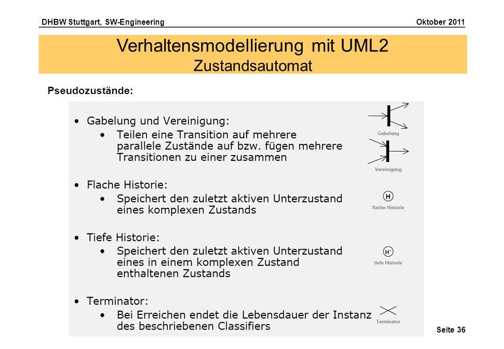 DHBW Stuttgart, SW-Engineering Oktober 2011 Seite 36 Pseudozustände: Verhaltensmodellierung mit UML2 Zustandsautomat