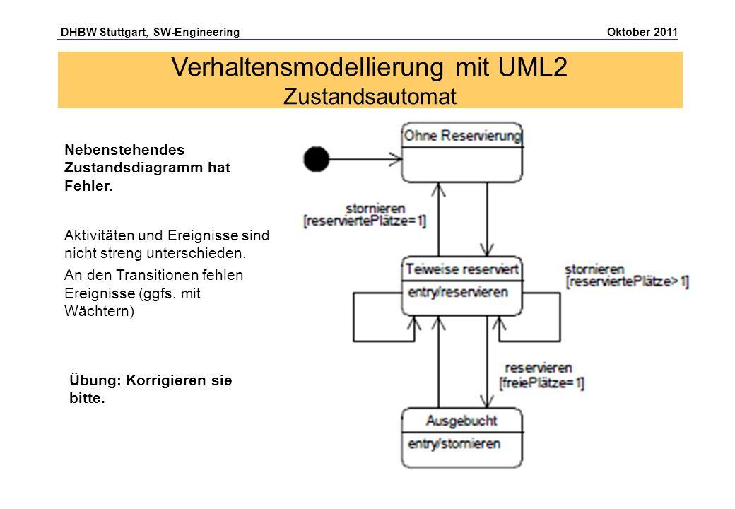 DHBW Stuttgart, SW-Engineering Oktober 2011 Seite 39 Aktivitäten und Ereignisse sind nicht streng unterschieden. An den Transitionen fehlen Ereignisse