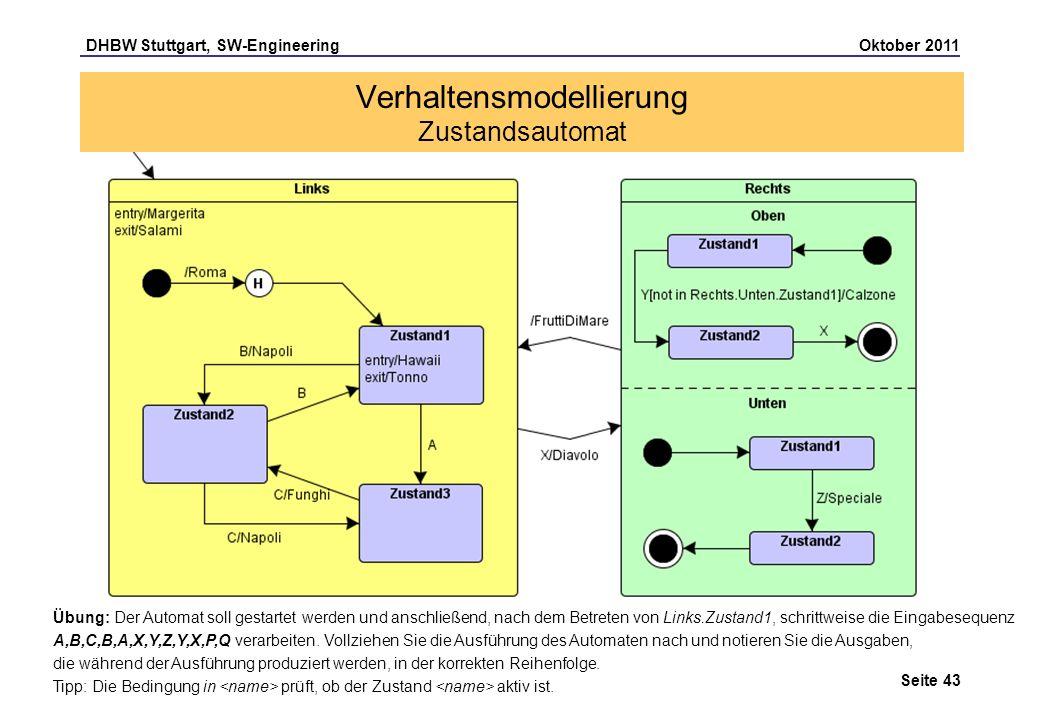 DHBW Stuttgart, SW-Engineering Oktober 2011 Seite 43 Übung: Der Automat soll gestartet werden und anschließend, nach dem Betreten von Links.Zustand1,