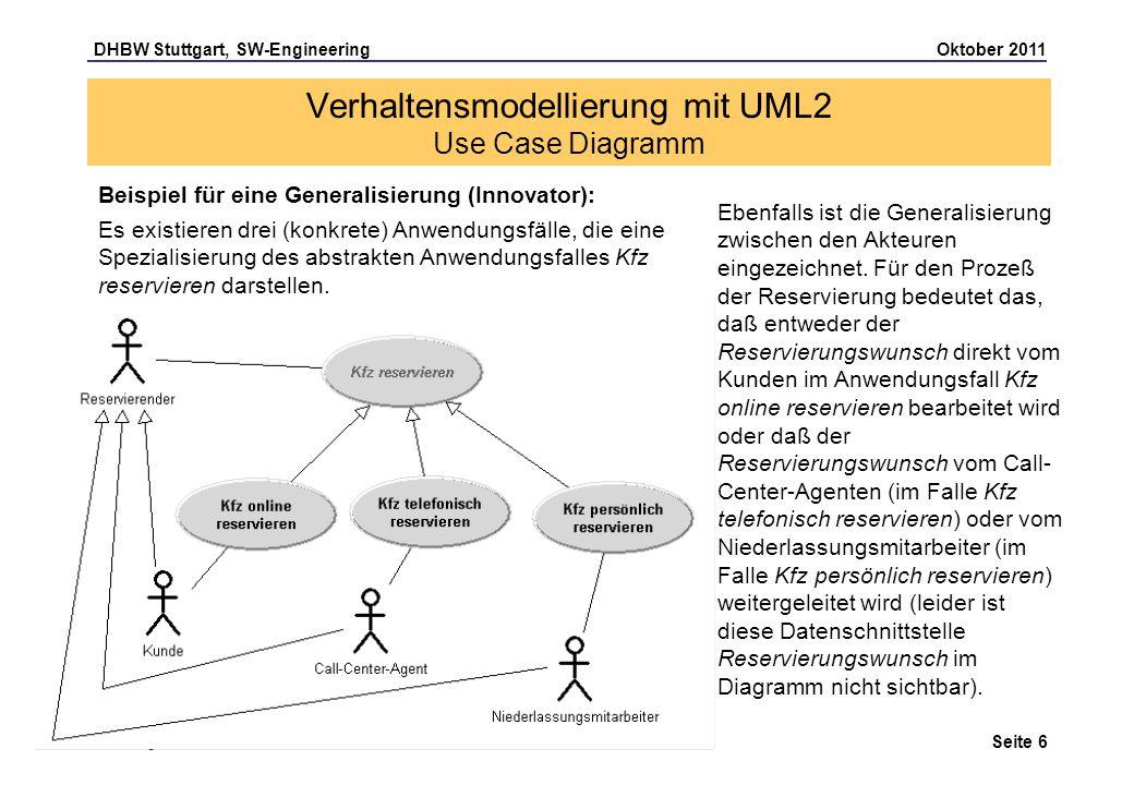 DHBW Stuttgart, SW-Engineering Oktober 2011 Seite 6 Christoph Riewerts Verhaltensmodellierung mit UML2 Use Case Diagramm Beispiel für eine Generalisie
