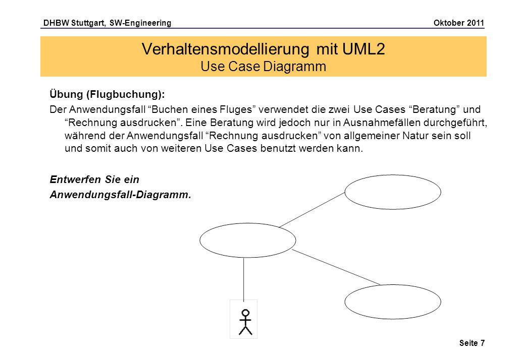 DHBW Stuttgart, SW-Engineering Oktober 2011 Seite 7 Übung (Flugbuchung): Der Anwendungsfall Buchen eines Fluges verwendet die zwei Use Cases Beratung
