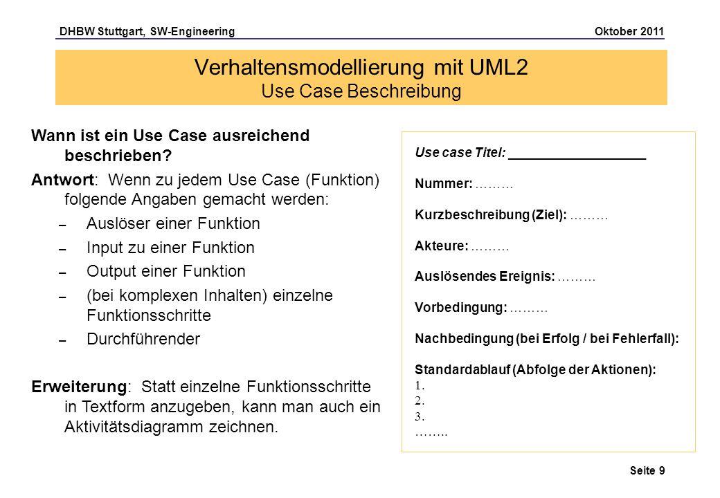DHBW Stuttgart, SW-Engineering Oktober 2011 Seite 9 Verhaltensmodellierung mit UML2 Use Case Beschreibung Use case Titel: ___________________ Nummer: