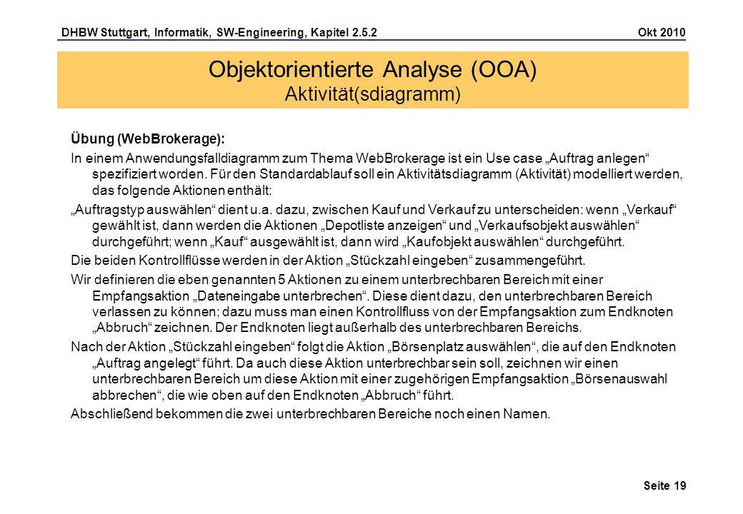 DHBW Stuttgart, Informatik, SW-Engineering, Kapitel 2.5.2 Okt 2010 Seite 19 Objektorientierte Analyse (OOA) Aktivität(sdiagramm) Übung (WebBrokerage):