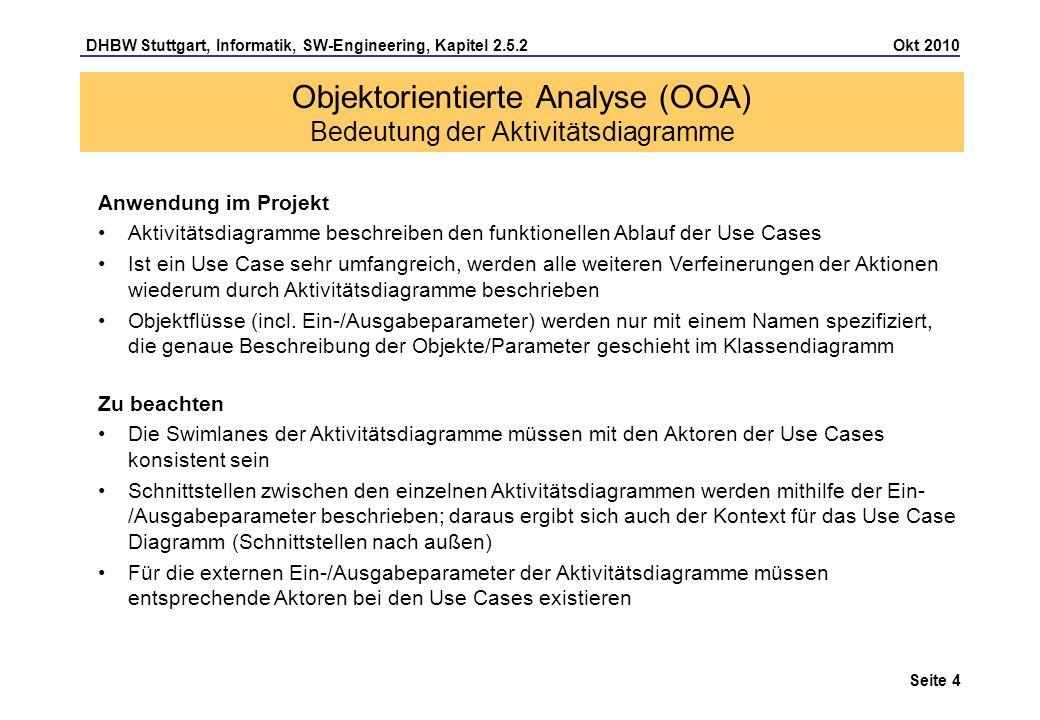 DHBW Stuttgart, Informatik, SW-Engineering, Kapitel 2.5.2 Okt 2010 Seite 5 Änderungen durch UML 2: Notation der Aktion und des Zustandes vereinheitlicht, jedoch Aktivitäten unabhängig von Zustandsautomaten Tokenkonzept von den Petri-Netzen übernommen Diagramm steht für Aktivität und enthält 3 Arten von Knoten: Aktionsknoten (Aktion), Kontrollknoten und Objektknoten und 2 Arten von Kanten: Kontrollfluss und Objektfluss Schachtelung von Aktivitäten Neue Notationselemente: Ein- und Ausgangsparameter, Ablaufendknoten, strukturierte Knoten, weitere Kontrollelemente, Sprungmarken,..