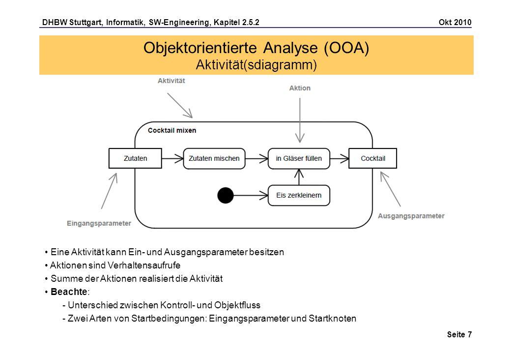 DHBW Stuttgart, Informatik, SW-Engineering, Kapitel 2.5.2 Okt 2010 Seite 8 Schachtelung von Aktivitäten: Objektorientierte Analyse (OOA) Aktivität(sdiagramm) Sprungmarken zur Unterbrechung von Kanten, um die Übersichtlichkeit zu erhöhen Aktionen mit Unteraktivität Aktionen können durch eine Unteraktivität näher beschrieben werden.