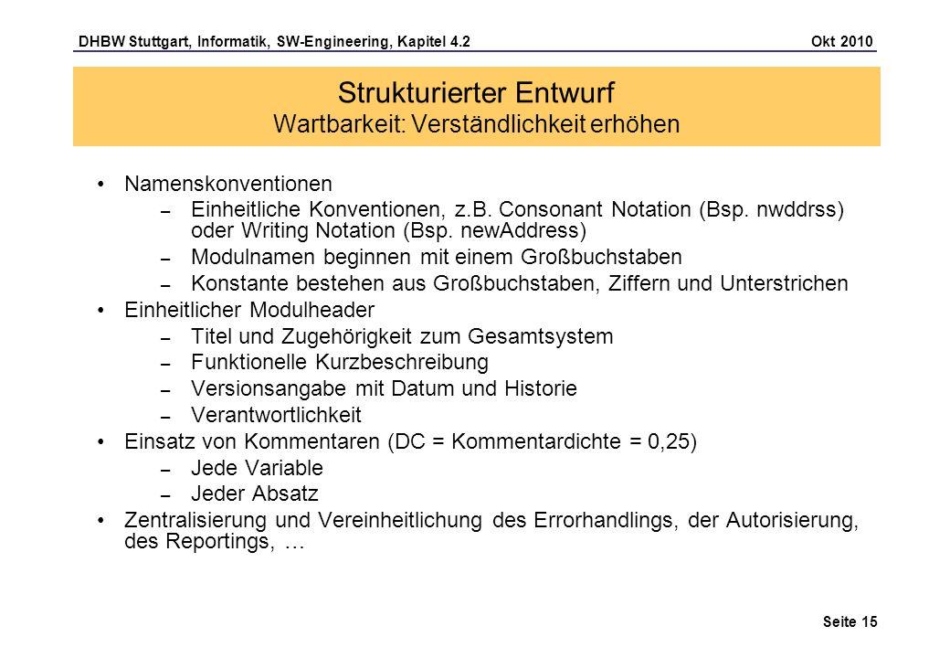 DHBW Stuttgart, Informatik, SW-Engineering, Kapitel 4.2 Okt 2010 Seite 15 Namenskonventionen – Einheitliche Konventionen, z.B. Consonant Notation (Bsp