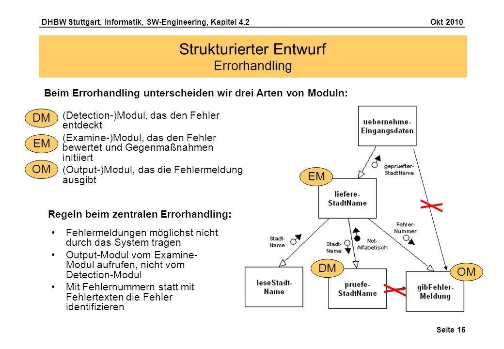 DHBW Stuttgart, Informatik, SW-Engineering, Kapitel 4.2 Okt 2010 Seite 16 Strukturierter Entwurf Errorhandling Beim Errorhandling unterscheiden wir dr