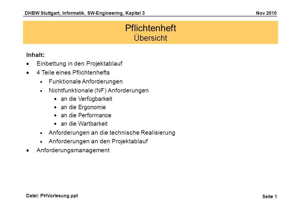 DHBW Stuttgart, Informatik, SW-Engineering, Kapitel 3 Nov 2010 Seite 1 Pflichtenheft Übersicht Datei: PHVorlesung.ppt Inhalt: Einbettung in den Projek