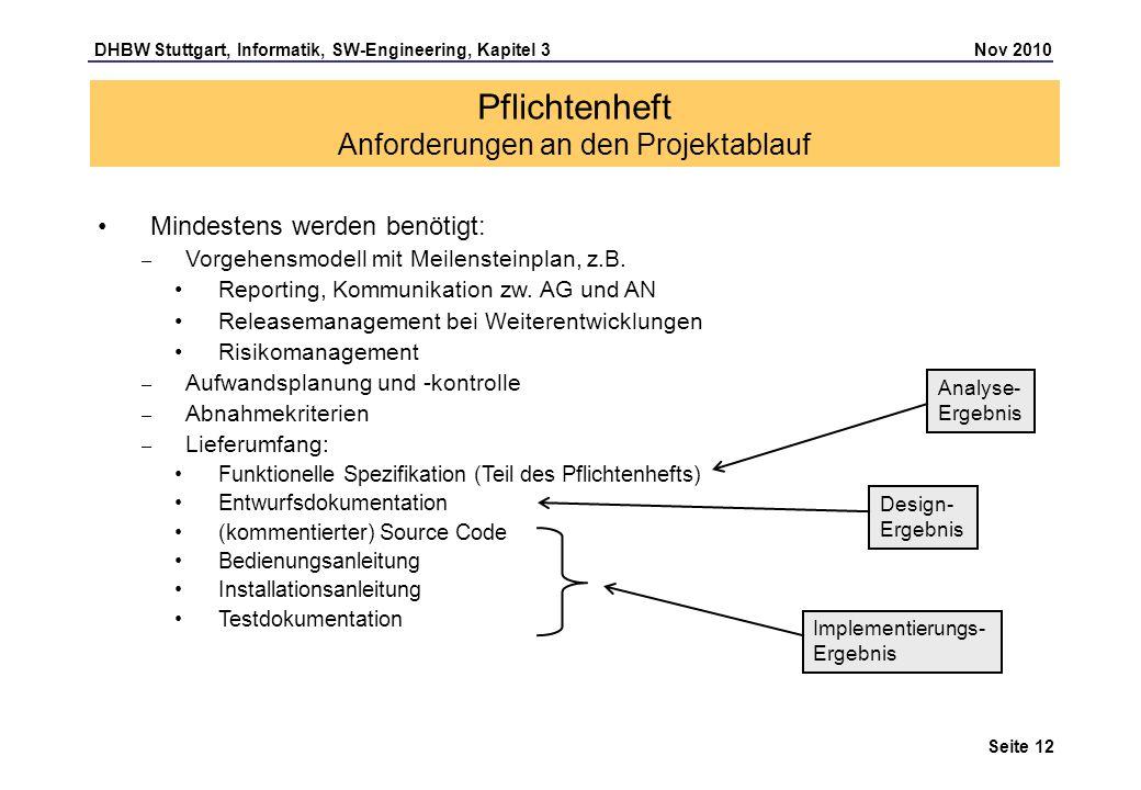 DHBW Stuttgart, Informatik, SW-Engineering, Kapitel 3 Nov 2010 Seite 12 Pflichtenheft Anforderungen an den Projektablauf Mindestens werden benötigt: –