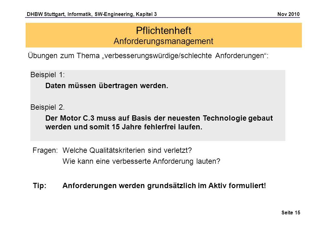 DHBW Stuttgart, Informatik, SW-Engineering, Kapitel 3 Nov 2010 Seite 15 Pflichtenheft Anforderungsmanagement Beispiel 1: Daten müssen übertragen werde