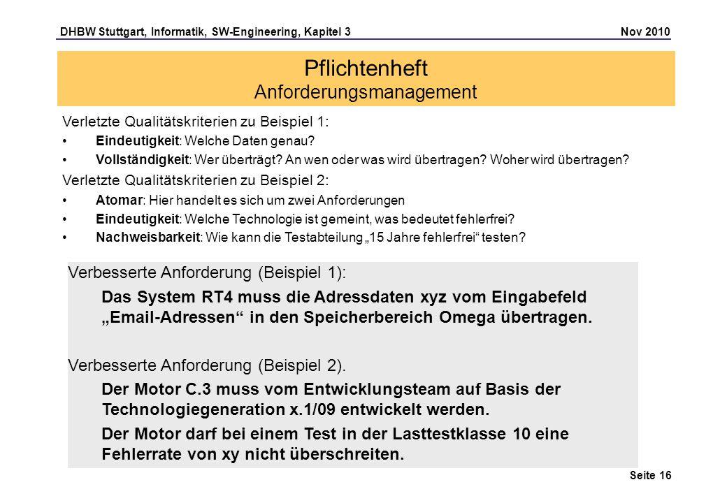 DHBW Stuttgart, Informatik, SW-Engineering, Kapitel 3 Nov 2010 Seite 16 Pflichtenheft Anforderungsmanagement Verletzte Qualitätskriterien zu Beispiel