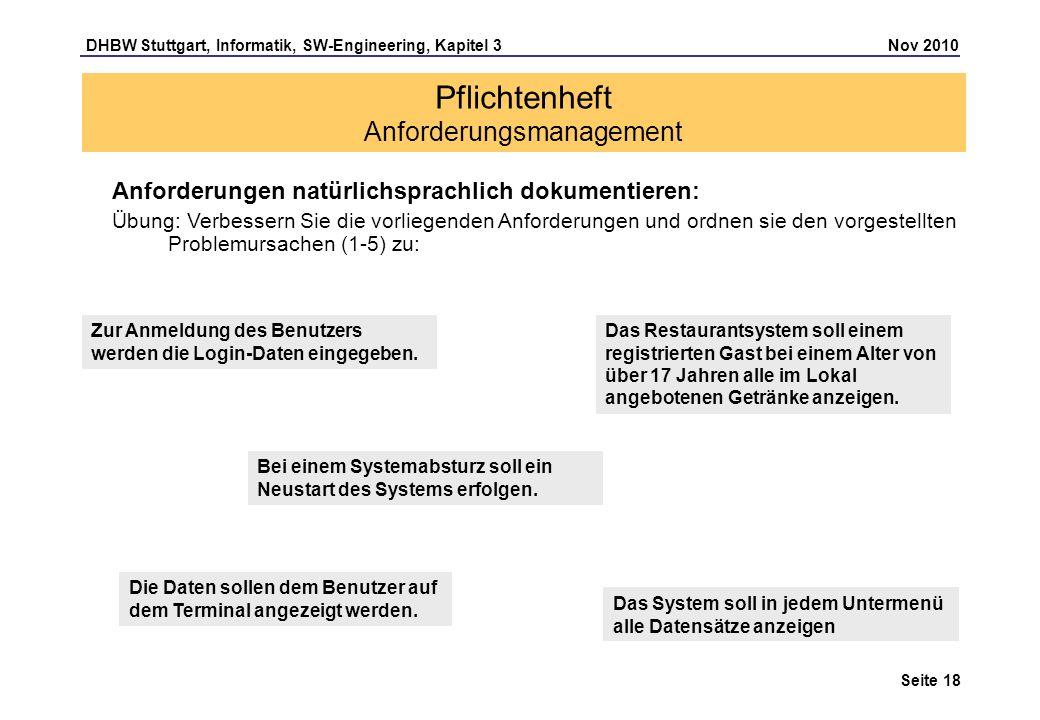 DHBW Stuttgart, Informatik, SW-Engineering, Kapitel 3 Nov 2010 Seite 18 Pflichtenheft Anforderungsmanagement Anforderungen natürlichsprachlich dokumen