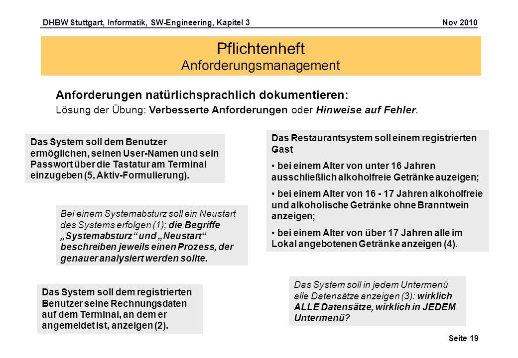 DHBW Stuttgart, Informatik, SW-Engineering, Kapitel 3 Nov 2010 Seite 19 Pflichtenheft Anforderungsmanagement Anforderungen natürlichsprachlich dokumen
