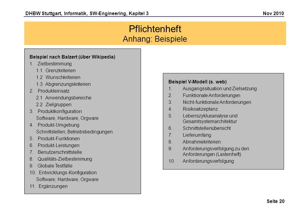 DHBW Stuttgart, Informatik, SW-Engineering, Kapitel 3 Nov 2010 Seite 20 Pflichtenheft Anhang: Beispiele Beispiel nach Balzert (über Wikipedia) 1. Ziel