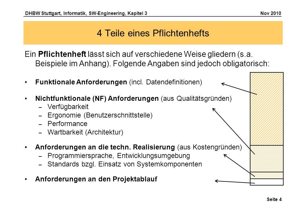 DHBW Stuttgart, Informatik, SW-Engineering, Kapitel 3 Nov 2010 Seite 4 4 Teile eines Pflichtenhefts Ein Pflichtenheft lässt sich auf verschiedene Weis