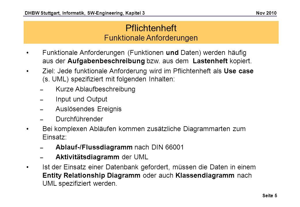 DHBW Stuttgart, Informatik, SW-Engineering, Kapitel 3 Nov 2010 Seite 5 Pflichtenheft Funktionale Anforderungen Funktionale Anforderungen (Funktionen u