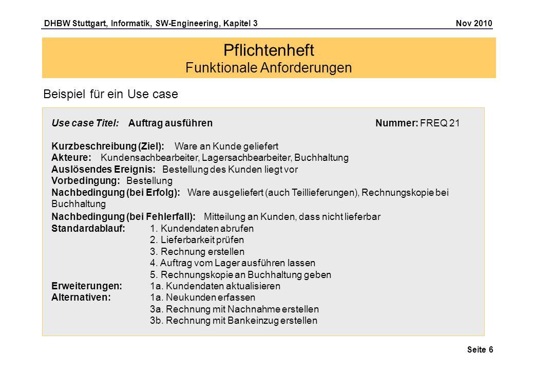 DHBW Stuttgart, Informatik, SW-Engineering, Kapitel 3 Nov 2010 Seite 6 Pflichtenheft Funktionale Anforderungen Use case Titel: Auftrag ausführen Numme