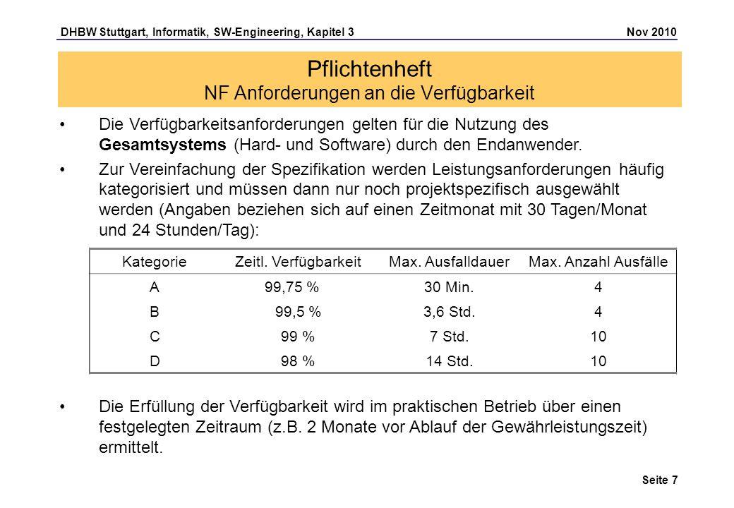 DHBW Stuttgart, Informatik, SW-Engineering, Kapitel 3 Nov 2010 Seite 7 Pflichtenheft NF Anforderungen an die Verfügbarkeit Die Verfügbarkeitsanforderu