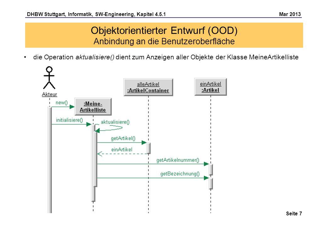 DHBW Stuttgart, Informatik, SW-Engineering, Kapitel 4.5.1 Mar 2013 Seite 7 die Operation aktualisiere() dient zum Anzeigen aller Objekte der Klasse MeineArtikelliste Objektorientierter Entwurf (OOD) Anbindung an die Benutzeroberfläche