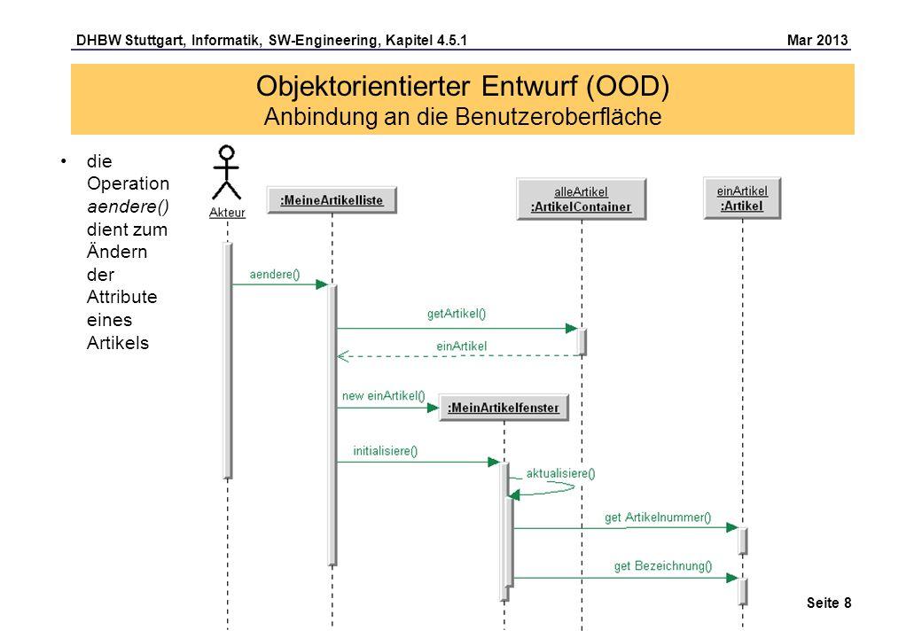 DHBW Stuttgart, Informatik, SW-Engineering, Kapitel 4.5.1 Mar 2013 Seite 9 Container-Klasse informiert ihre GUI-Listenklassen mittels Beobachter-Muster und enthält eine *-Assoziation zur GUI-Listenklasse (Beobachter) und: – die Operation meldeAn(), die eine Verbindung zu einem Beobachter-Objekt aufbaut – die Operation meldeAb(), die eine Verbindung zu einem Beobachter-Objekt abbaut – die Operation benachrichtige(), die alle Beobachter über eine Veränderung benachrichtigt Objektorientierter Entwurf (OOD) Anbindung an die Benutzeroberfläche