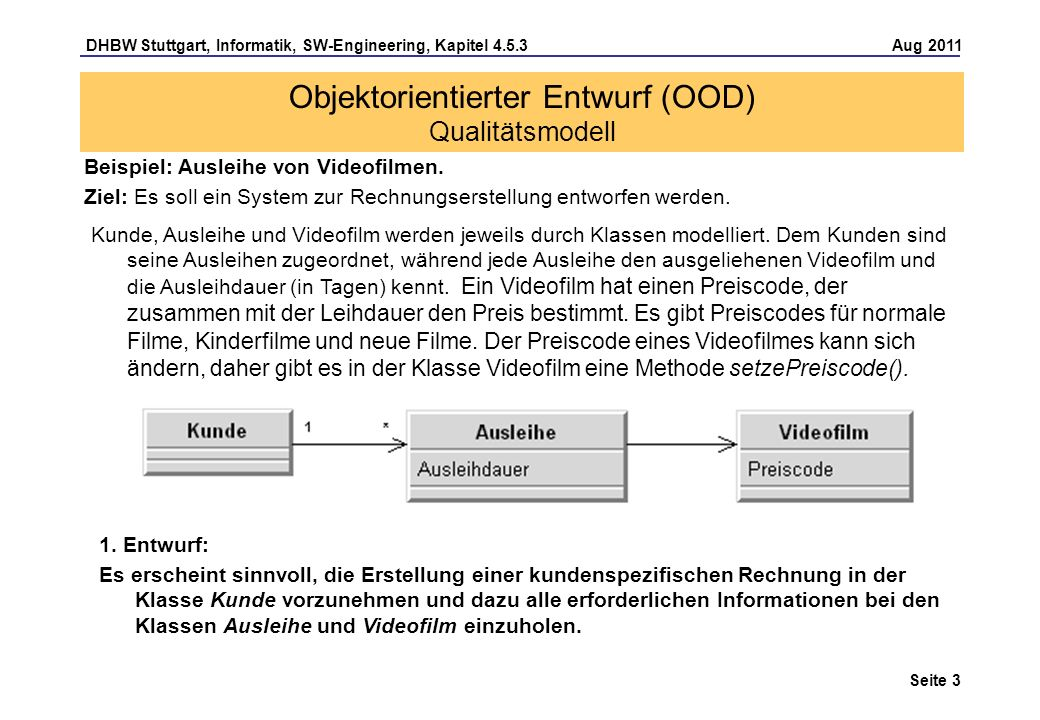 DHBW Stuttgart, Informatik, SW-Engineering, Kapitel 4.5.3 Aug 2011 Seite 3 Beispiel: Ausleihe von Videofilmen. Ziel: Es soll ein System zur Rechnungse