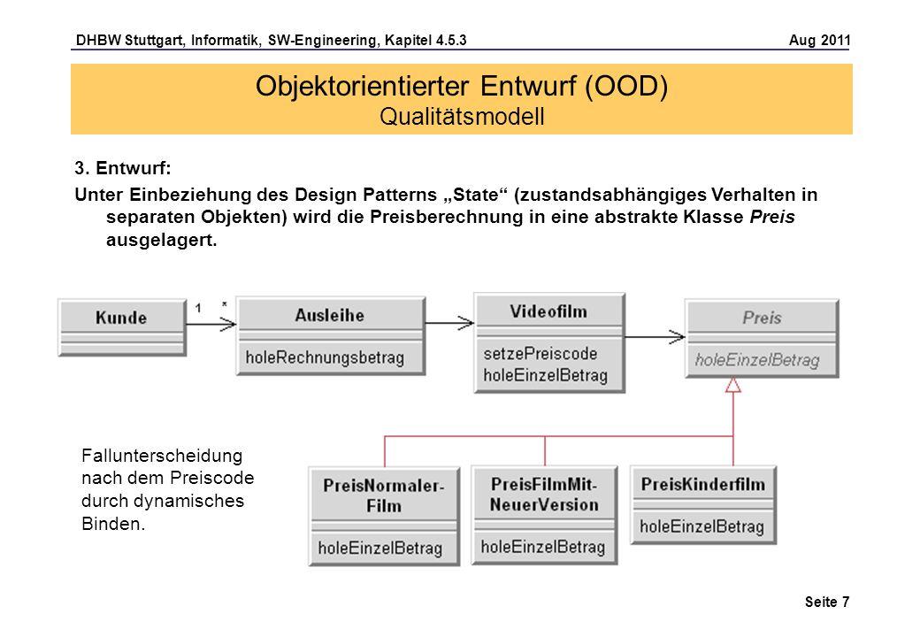 DHBW Stuttgart, Informatik, SW-Engineering, Kapitel 4.5.3 Aug 2011 Seite 7 Objektorientierter Entwurf (OOD) Qualitätsmodell 3. Entwurf: Unter Einbezie
