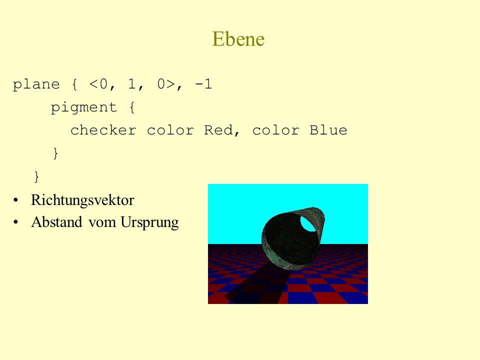 Ebene plane {, -1 pigment { checker color Red, color Blue } Richtungsvektor Abstand vom Ursprung