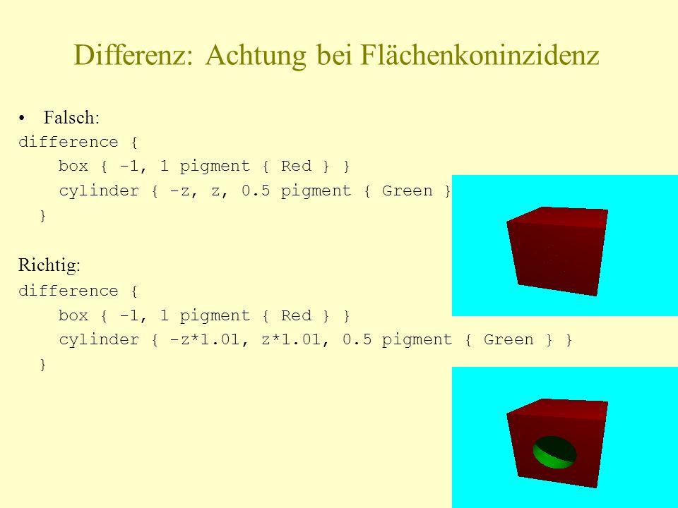 Differenz: Achtung bei Flächenkoninzidenz Falsch: difference { box { -1, 1 pigment { Red } } cylinder { -z, z, 0.5 pigment { Green } } } Richtig: difference { box { -1, 1 pigment { Red } } cylinder { -z*1.01, z*1.01, 0.5 pigment { Green } } }
