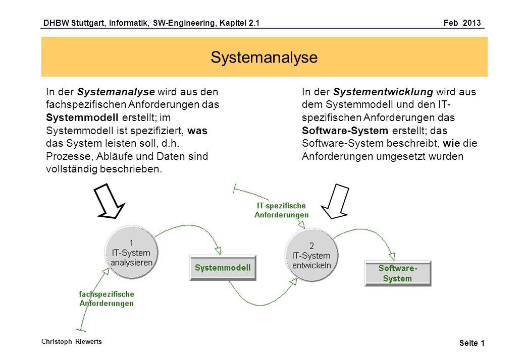DHBW Stuttgart, Informatik, SW-Engineering, Kapitel 2.1 Feb 2013 Seite 1 Systemanalyse Christoph Riewerts In der Systemanalyse wird aus den fachspezifischen Anforderungen das Systemmodell erstellt; im Systemmodell ist spezifiziert, was das System leisten soll, d.h.