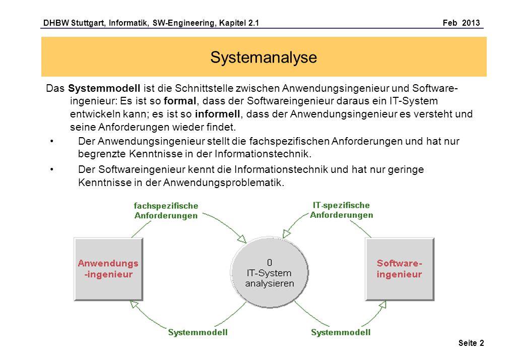 DHBW Stuttgart, Informatik, SW-Engineering, Kapitel 2.1 Feb 2013 Seite 2 Systemanalyse Das Systemmodell ist die Schnittstelle zwischen Anwendungsingenieur und Software- ingenieur: Es ist so formal, dass der Softwareingenieur daraus ein IT-System entwickeln kann; es ist so informell, dass der Anwendungsingenieur es versteht und seine Anforderungen wieder findet.