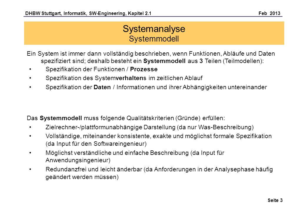 DHBW Stuttgart, Informatik, SW-Engineering, Kapitel 2.1 Feb 2013 Seite 3 Systemanalyse Systemmodell Ein System ist immer dann vollständig beschrieben, wenn Funktionen, Abläufe und Daten spezifiziert sind; deshalb besteht ein Systemmodell aus 3 Teilen (Teilmodellen): Spezifikation der Funktionen / Prozesse Spezifikation des Systemverhaltens im zeitlichen Ablauf Spezifikation der Daten / Informationen und ihrer Abhängigkeiten untereinander Zielrechner-/plattformunabhängige Darstellung (da nur Was-Beschreibung) Vollständige, miteinander konsistente, exakte und möglichst formale Spezifikation (da Input für den Softwareingenieur) Möglichst verständliche und einfache Beschreibung (da Input für Anwendungsingenieur) Redundanzfrei und leicht änderbar (da Anforderungen in der Analysephase häufig geändert werden müssen) Das Systemmodell muss folgende Qualitätskriterien (Gründe) erfüllen:
